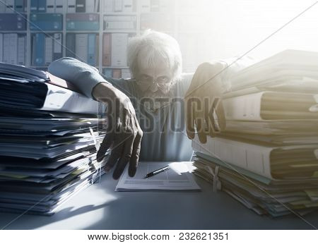 Stressed Overloaded Office Worker