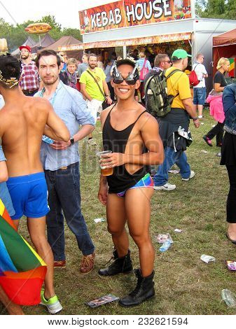 A Cute Guy At A Gay Pride Party In The Park Of Prague In The Summer Of 2014.