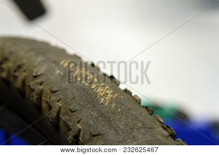 Rubber Tire For Bicycle With Damage Close-up