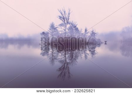 Island On The Lake.reflection Of Trees From The Water.little Island With Trees. Autumn Landscape On