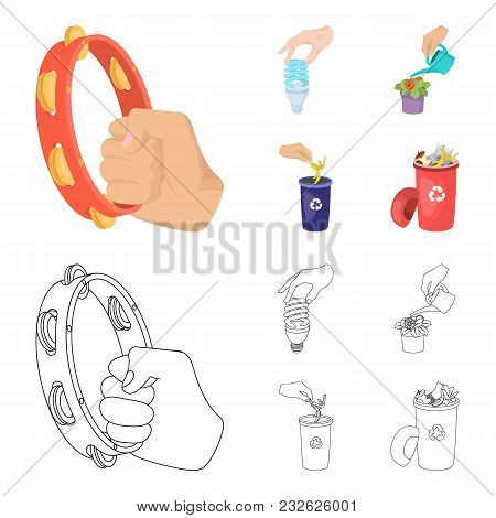 Energy-saving Light Bulb, Watering A Houseplant And Other  Icon In Cartoon, Outline Style. Garbage C