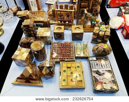 Rishon Le Zion, Israel- December 17, 2017: Inside The Store Wooden Crafts At Azrieli Department Stor