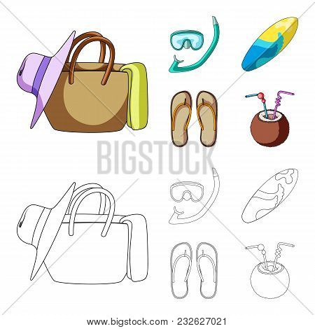 Diving, Surfing, Cocktail.summer Vacation Set Collection Icons In Cartoon, Outline Style Vector Symb
