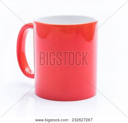 Red cup isolated on a white background