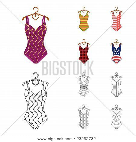 Different Kinds Of Swimsuits. Swimsuits Set Collection Icons In Cartoon, Outline Style Vector Symbol