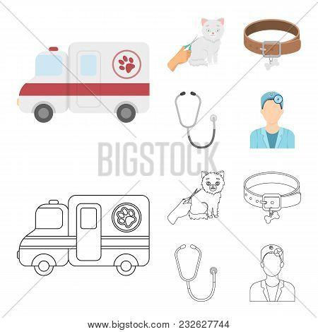Collar, Bone, Cat, Haircut .vet Clinic Set Collection Icons In Cartoon, Outline Style Vector Symbol