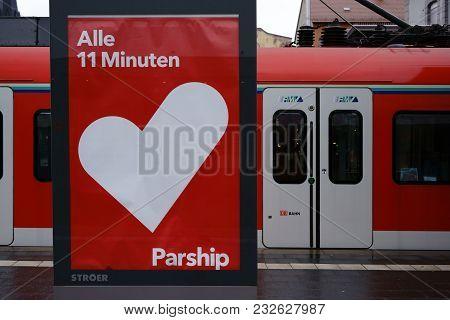 Frankfurt, Germany - February 11: A Regional Train Of The Rhine-main Transport Association Stops In