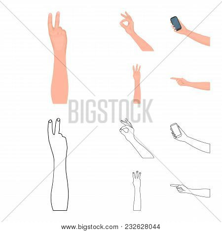Sign Language Cartoon, Outline Icons In Set Collection For Design.emotional Part Of Communication Ve