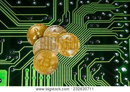 Conceptual Bitcoin With Computer Motherboard Circuit Background