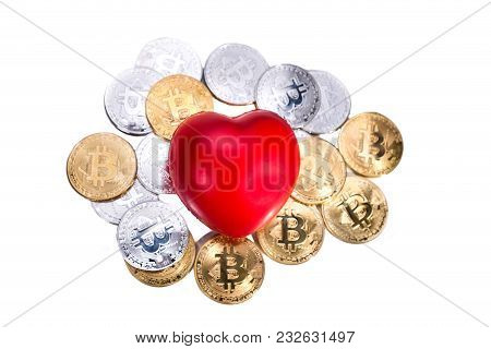 Conceptual Cryptocurrency Bitcoin With Red Heart Denoting Love Or Like