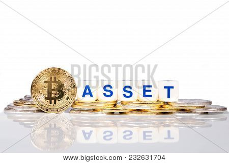 Conceptual Cryptocurrency Bitcoin With The Word Asset