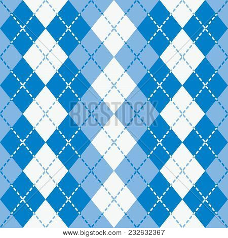 Seamless Argyle Pattern With Dashed Lines In Blue And White.
