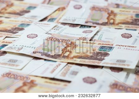 Close Up View Of Cash Money Rubles Bills In Amount