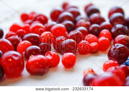 Ripe Red Berries Close-up On A Table