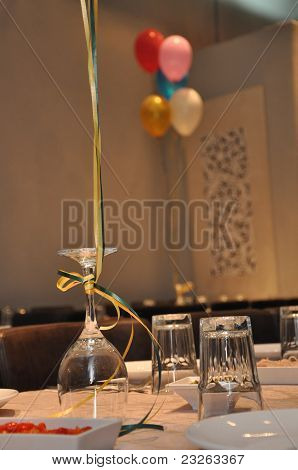 Glass cups and balloons