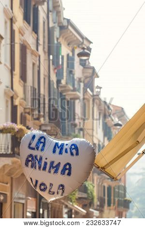 Heart Balloon In The Street With Italian Text - My Soul Flies
