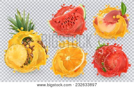 Strawberry, Pineapple, Orange, Watermelon, Peach Juice. Fresh Fruits And Splashes, 3d Vector Icon Se