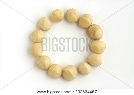 Composition Of Macadamia, Food Of Health Isolated On White Background