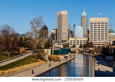 Indianapolis - Circa March 2018: Indy Downtown Skyline On A Sunny Day With The Newly Renamed Salesfo