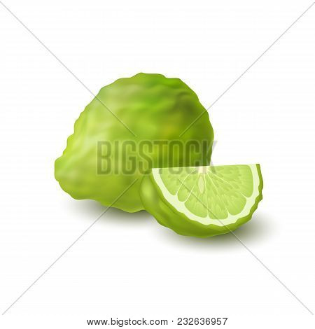 Isolated Colorfull Green Whole And Slice Of Juicy Bergamot, Kaffir Lime With Shadow On White Backgro
