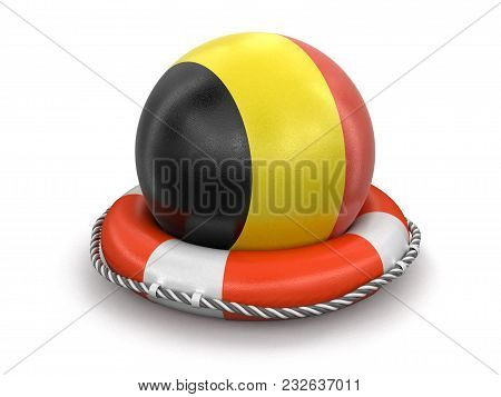 3d Illustration. Ball With Belgian Flag On Lifebuoy. Image With Clipping Path