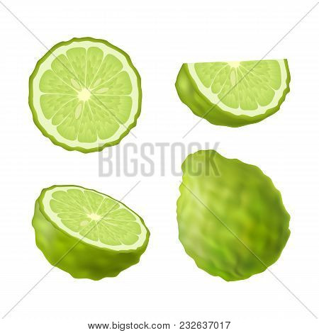 Set Of Isolated Colored Green Bergamot, Kaffir Lime, Half, Slice, Circle And Whole Juicy Fruit On Wh