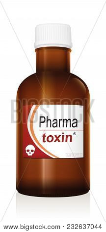 Medicine Bottle Named Pharma Toxin, A Medical Fake Product With A Skull As The Brand Logo Which Allu