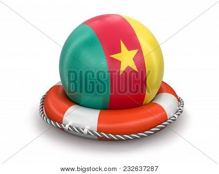 3d Illustration. Ball With Cameroon Flag On Lifebuoy. Image With Clipping Path