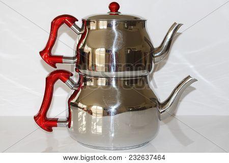 Turkish Teapot Stainless Steel Teapots Set. Teapot And Tea Kettle. Traditional Turkish Teapot Isolat