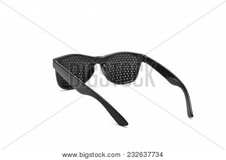 Pin Hole, Anti Myopia Glasses For Vision Correction. Isolated On White Background