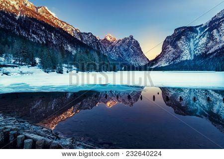 Dobbiaco Lake In The Dolomites, Beautiful Nature, Natural Winter Landscape Alps, Bolzano, Italy