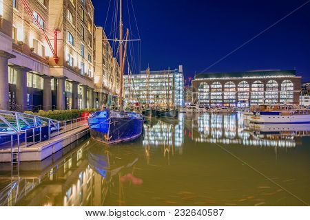 London, United Kingdom - January 05: This Is A Night View Of The Famous St Katharine Docks, An Offic