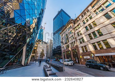 London, United Kingdom -november 06: This Is The St Marys Axe Building And City Of London Financial