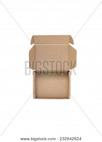 Open Cardboard Box Flat Lay Top View Isolated On White