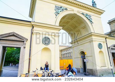 Munich Germany -september 9, 2017; Ornate Architectural Detail  Of Wall And Arched Entrance With Pre