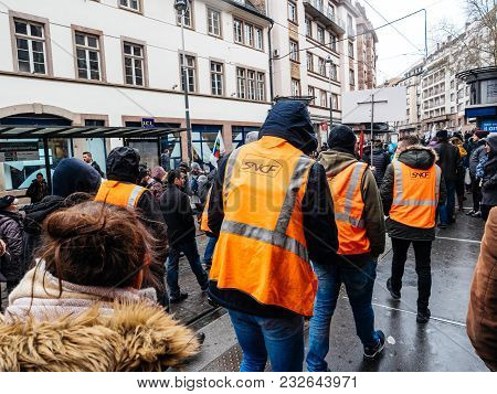 Strasbourg, France  - Mar 22, 2018: Workers From Public Train Sncf At Demonstration Protest Against