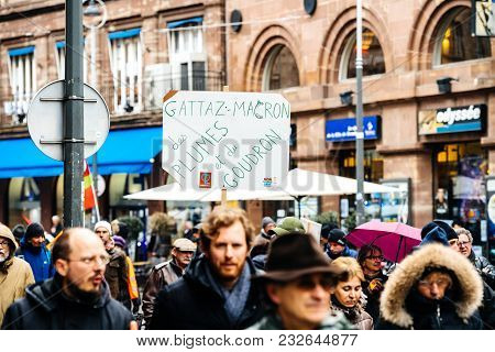 Strasbourg, France  - Mar 22, 2018: Anti Macron Banner At Demonstration Protest Against Macron Frenc