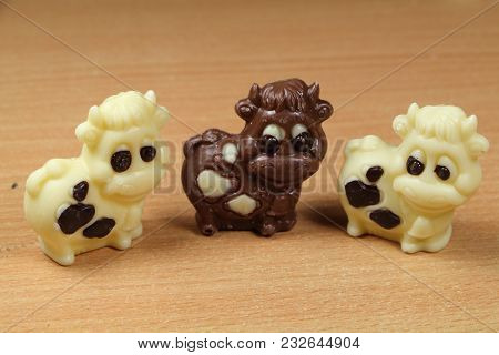 Milk And White Chocolate Cows For Easter