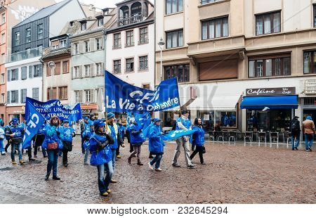 Strasbourg, France  - Mar 22, 2018: Medical Personell At Demonstration Protest Against Macron French