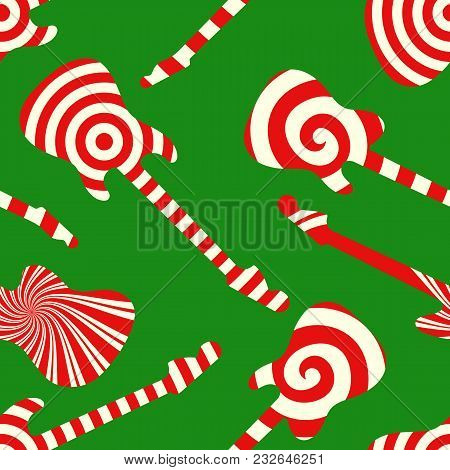 Holiday Concept Guitar Silhouettes. Peppermint Candy Finish Guitar Seamless Pattern On Green Backgro