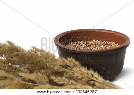 Buckwheat In A Brown Clay Bowl White Backround