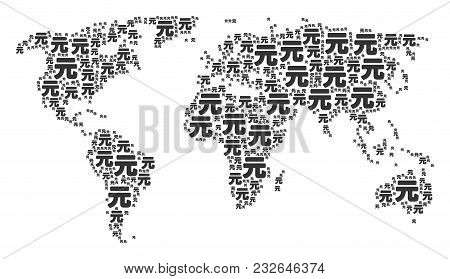 International Map Mosaic Done Of Yuan Renminbi Design Elements. Vector Yuan Renminbi Design Elements