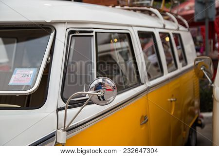 Nonthaburi, Thailand - March 10, 2018: Vw Van Microbus Window Show In Volkswagen Club Meeting At Car