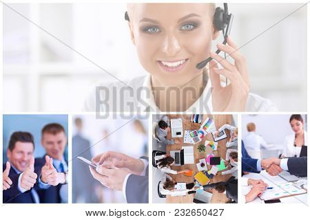 Design of a customer service agent sitting at office