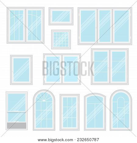 Modern Shiny Windows With White Frames Set Isolated Vector Illustration. Architectural Interior And