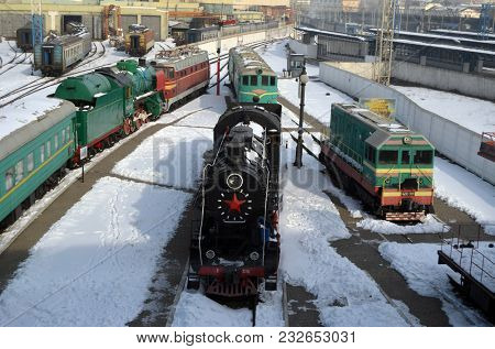 Soviet vintage  locomotive. Museum of the History of Railway. Exterior. March 23, 2018 in Kiev,Ukraine