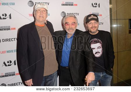 LOS ANGELES - FEB 22:  Chevy Chase, Burt Reynolds, Adam Rifkin at the