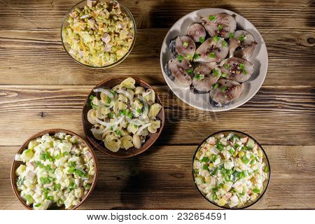 Various Festive Dishes On Wooden Table. Top View