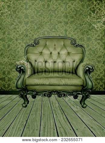 An Abandoned Room In Green Tones With Cobwebs And A Green Chair.