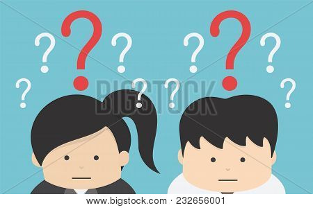 Businessman And Businesswoman Confused , Eps10 Vector Format, Flat Design, Question
